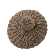 Knitted Beret with Pom Pom - Taupe